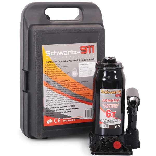 Домкрат гидравлический бутылочный Azard SCHWARTZ-911 в пластиковом кейсе 2 т - фото 2